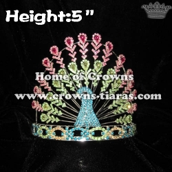 تيجان ملكية  امبراطورية فاخرة Wholesale-pageant-crystal-peacock-crowns