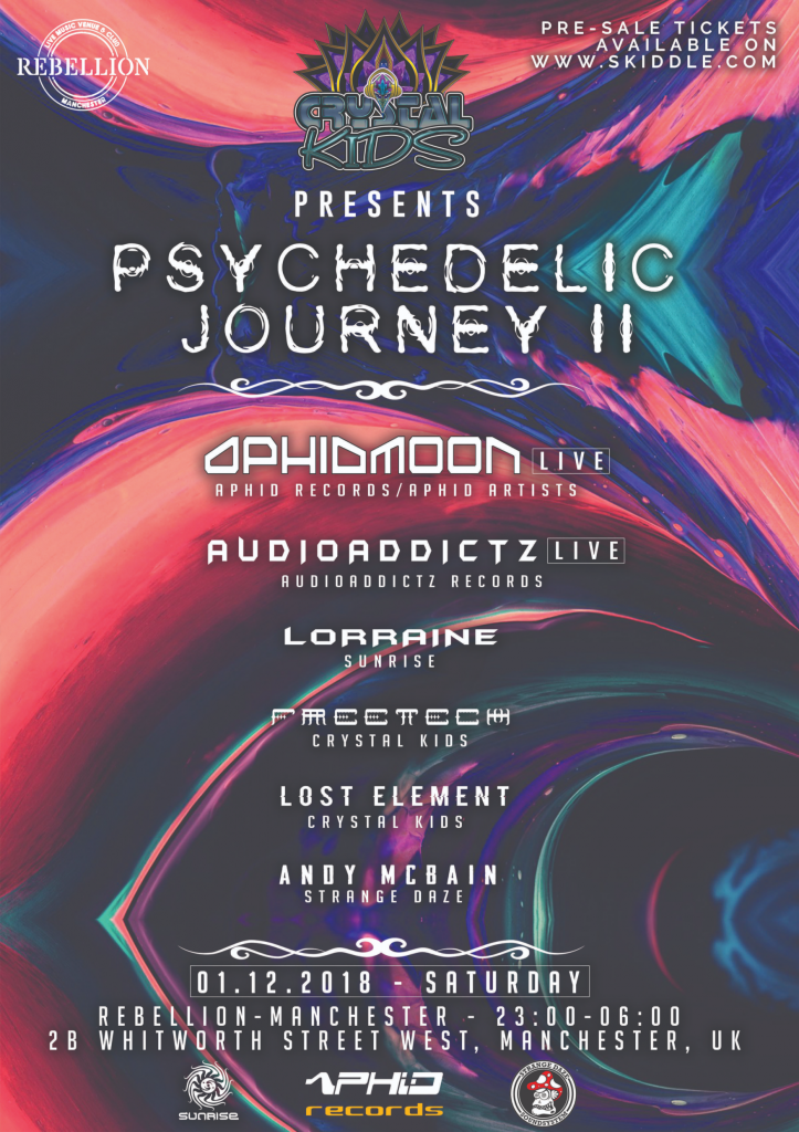 Crystal Kids, Psychedelic Journey II, 1.12.18, Rebellion Mcr A3-Poster-Webpage-723x1024