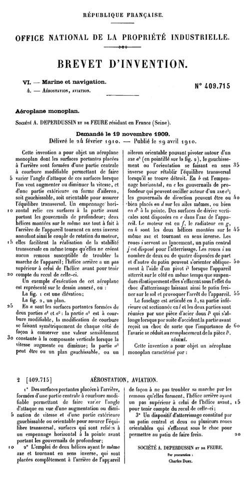 Armand-Jean-Auguste Deperdussin Dep_brevet_1909_p1-2_500