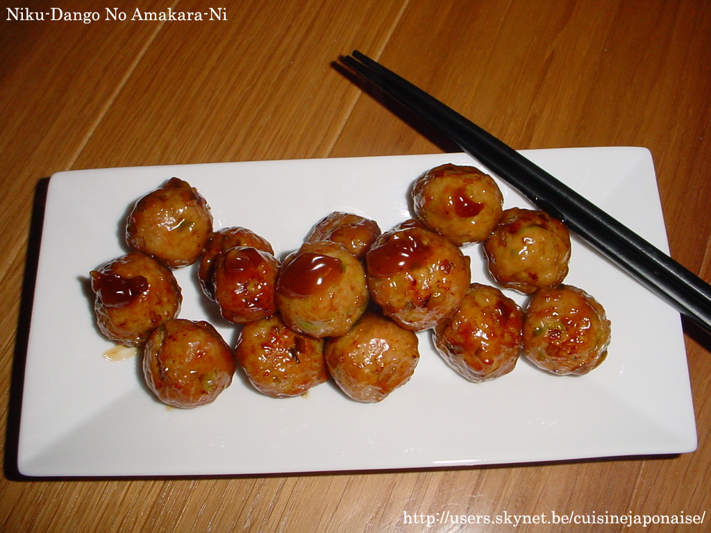 le niku dango enfin bref des boulette de porc sauce soja xD Niku-Dango_No_Amakara-Ni