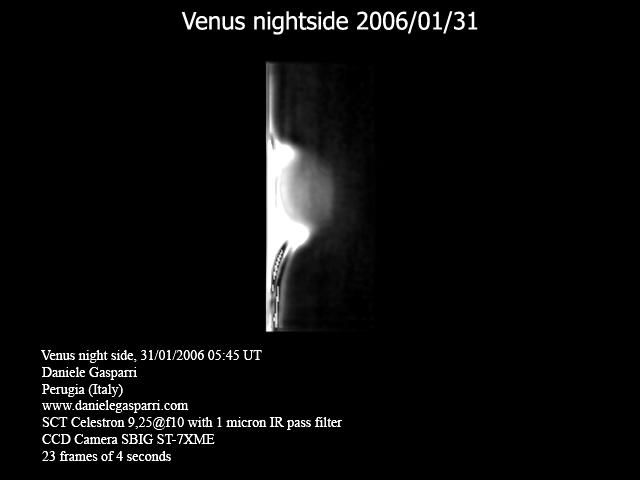 """Luz cinzenta"" na observação de Vênus. Venus_night_side"