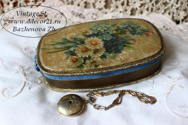 М.К. Винтажная шкатулка Букет с синей ленточкой (коллекция Винтажные цветы) Byk-a