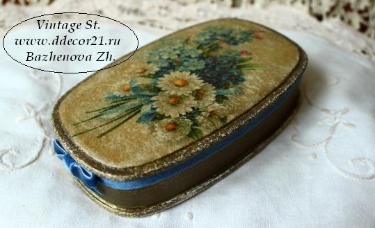 М.К. Винтажная шкатулка Букет с синей ленточкой (коллекция Винтажные цветы) Byk-aa