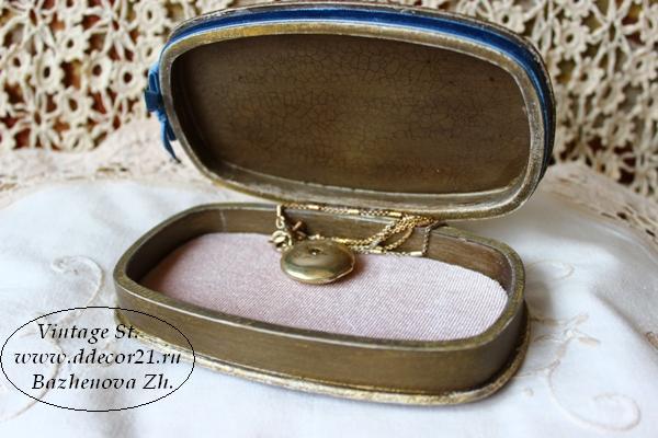 М.К. Винтажная шкатулка Букет с синей ленточкой (коллекция Винтажные цветы) Byk-aaa