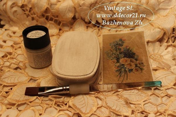 М.К. Винтажная шкатулка Букет с синей ленточкой (коллекция Винтажные цветы) Byk-b