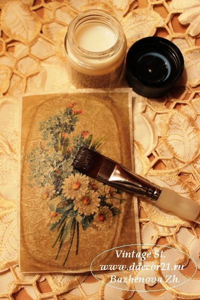 М.К. Винтажная шкатулка Букет с синей ленточкой (коллекция Винтажные цветы) Byk-c