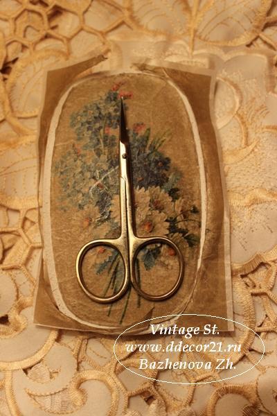 М.К. Винтажная шкатулка Букет с синей ленточкой (коллекция Винтажные цветы) Byk-d
