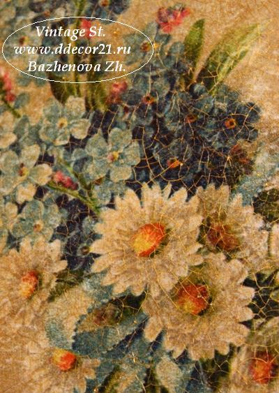 М.К. Винтажная шкатулка Букет с синей ленточкой (коллекция Винтажные цветы) Byk-p