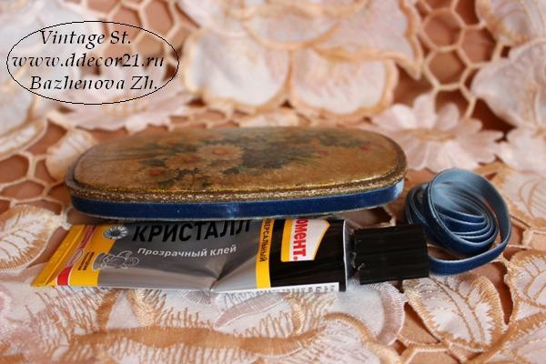 М.К. Винтажная шкатулка Букет с синей ленточкой (коллекция Винтажные цветы) Byk-x