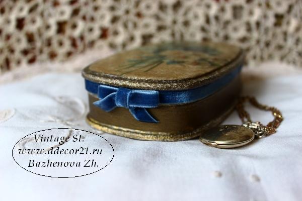 М.К. Винтажная шкатулка Букет с синей ленточкой (коллекция Винтажные цветы) Byk-z