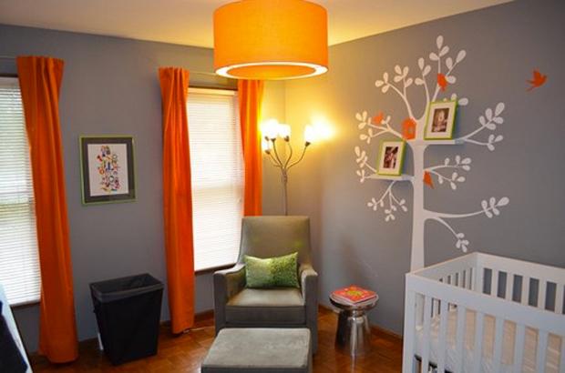 Chambre parental Couleur-chambre-enfant-gris-orange