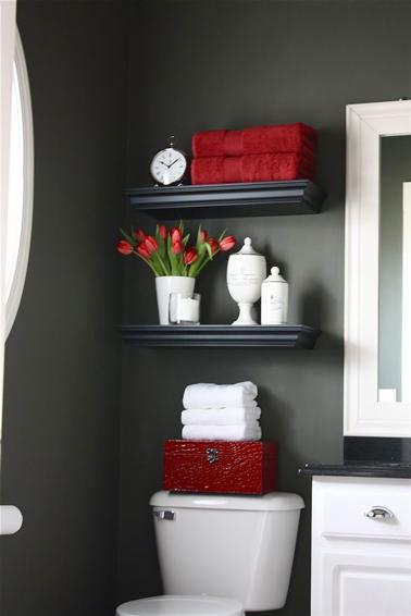 Idée simple de déco pour des WCs Deco-wc-couleur-peinture-gris-antracite-deco-rouge