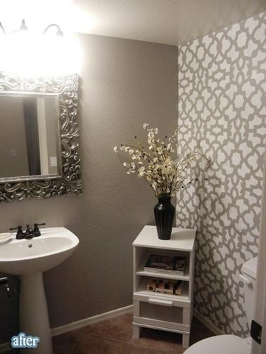peinture des toilettes Papier-peint-gris-pour-deco-toilette-romantique
