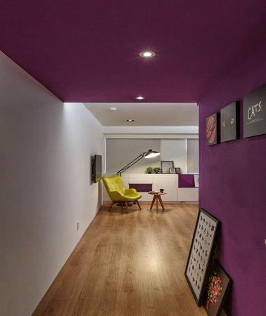 Une chambre d'amis  - Page 2 Peindre-un-plafond-et-un-mur-en-violet-aubergine-couloir