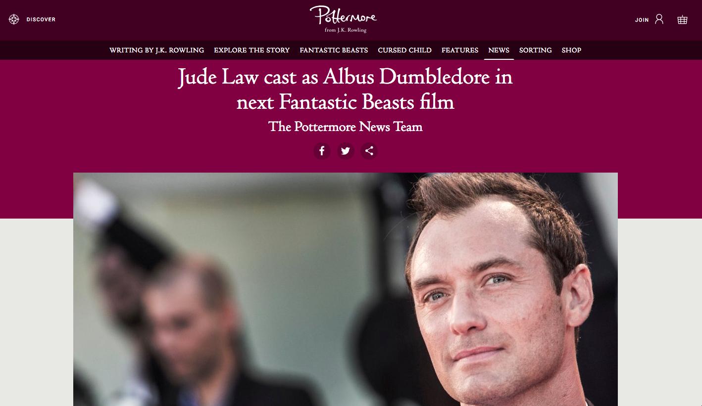 Animaux Fantastiques : Jude Law incarnera Dumbledore sur grand écran ! Par Marine B. Pottemore