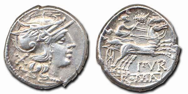 Denario republicano gens Furia. Purdurmius