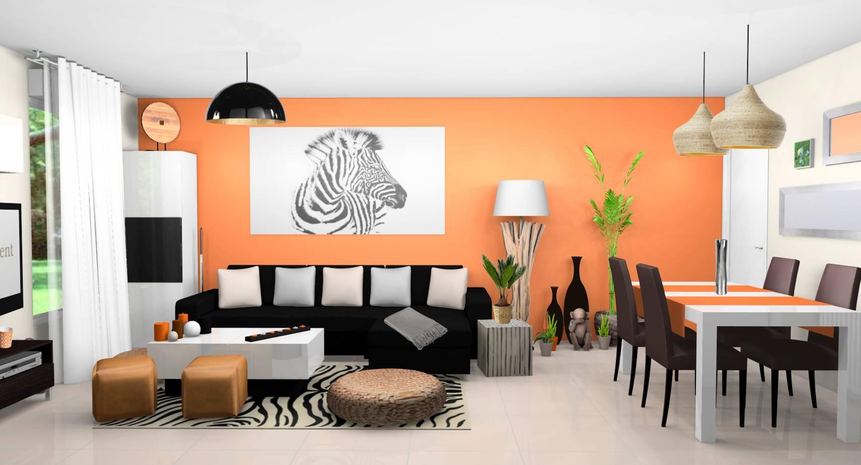 Décoration de ma pièce à vivre Sejour-salle-a-manger-contemporains-exotiques-murs-lin-orange-carrelage-brillant-beige-mobilier-laque-blanc-bois-wenge-tableau-zebre-touches-orange-2