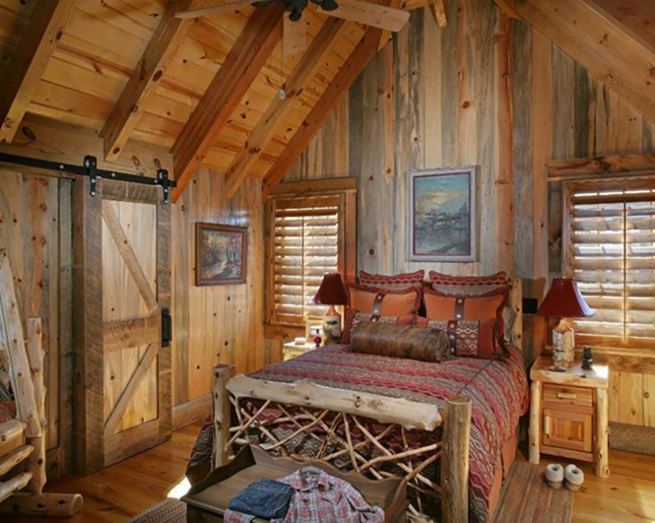 Deco intérieur bois Chalet-decor-rustique-double-lit