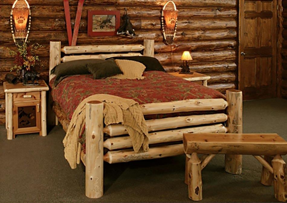 Deco intérieur bois Chambre-lit-rustique-montagne
