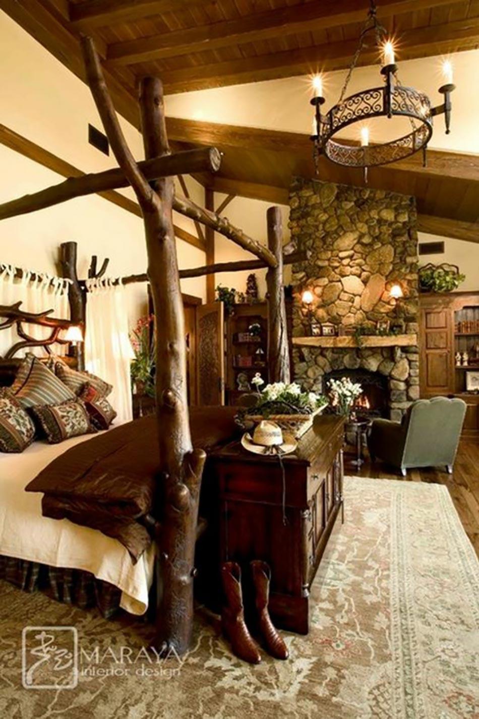 Deco intérieur bois Lit-baldaquin-design-bois-massif