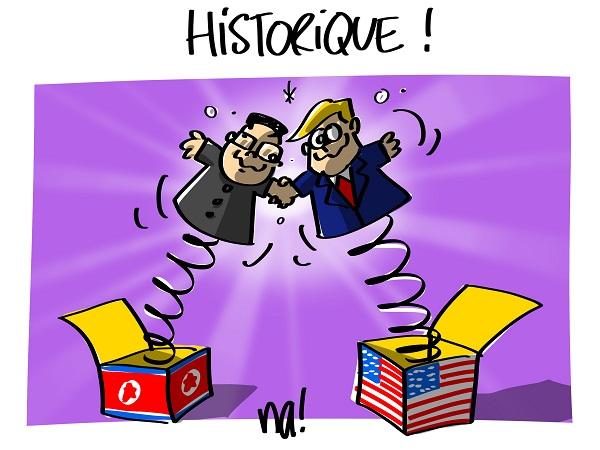 Le dessin du jour (humour en images) - Page 16 2315_trump_kim_historique