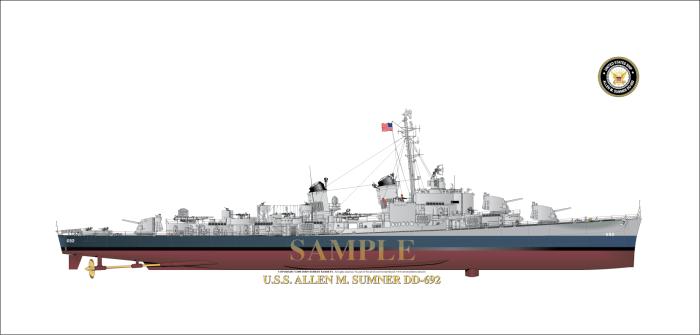 DD-445 Fletcher Tamiya au 1/700 Blue-DD692-1945