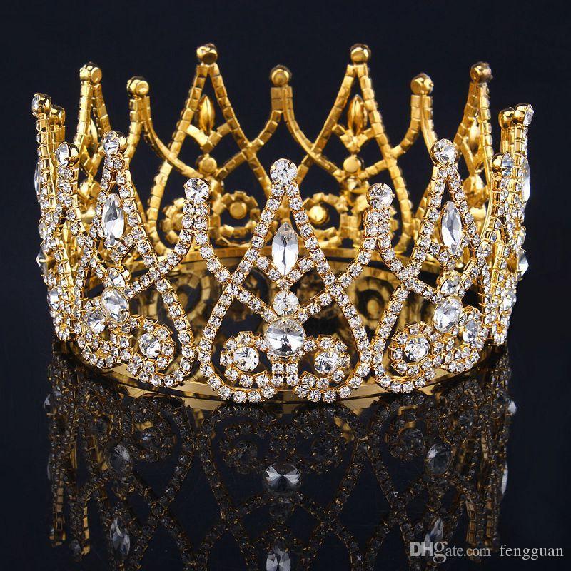 تيجان ملكية  امبراطورية فاخرة Royal-gold-plated-rhinestone-crown-tiaras