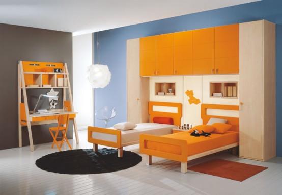 غرف نوووووم اطفال تجنن Contemporary-kids-room-decor-idea-1-554x382