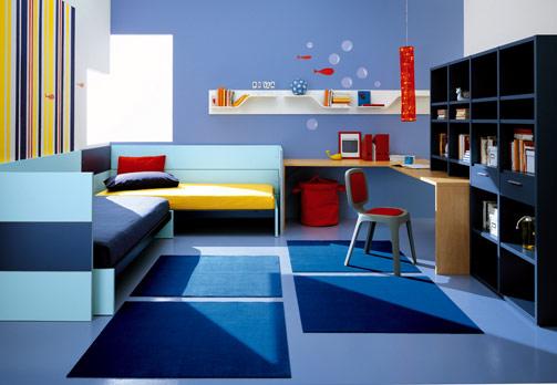 غرف نوووووم اطفال تجنن Kids-room-decor-blue-1