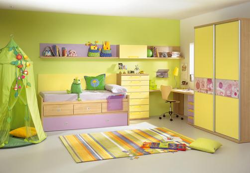 غرف نوووووم اطفال تجنن Kids-room-decor-yellow-green-1
