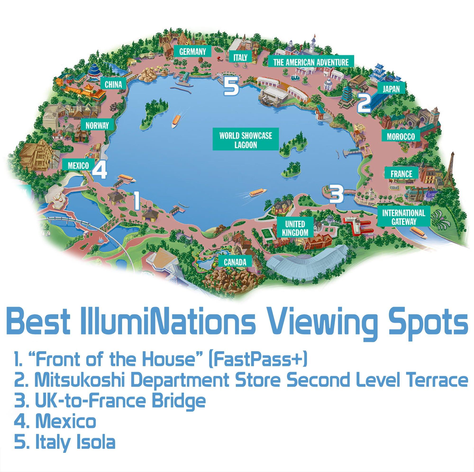 Meilleurs endroits pour voir Wishes et IllumiNations? Epcot-fireworks-map-copy