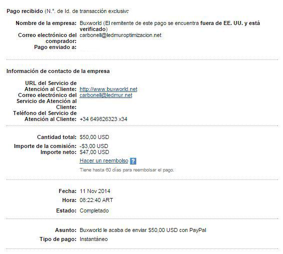 15ª Pago Buxworld $ 50 1B6sv