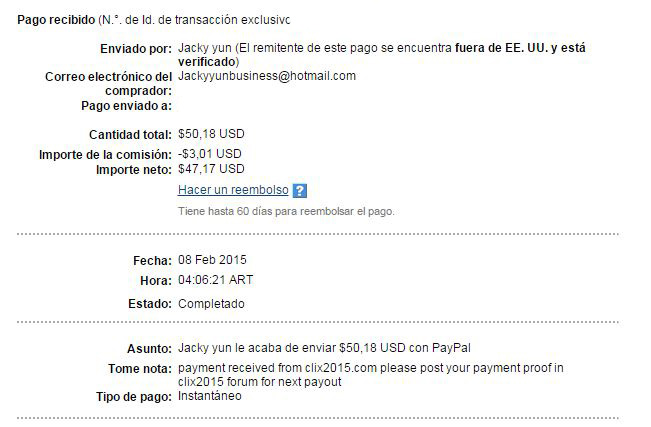 4° Pago Clix2015 $ 50 Paypal 23gMm
