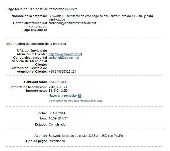 4° Pago bonos Buxworld $ 333.31 Paypal 3GY2x
