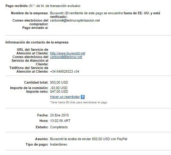 24ª Pago Buxworld $ 50 Paypal 3UGkJ