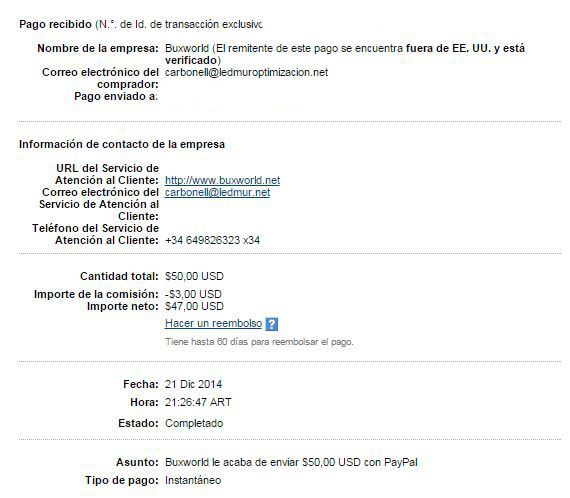 19ª Pago Buxworld $ 50 Paypal 58OD