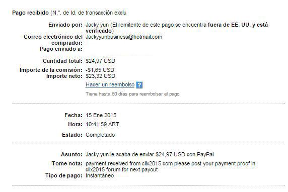 2° Pago Clix2015 $ 24.97 Paypal 93RWM