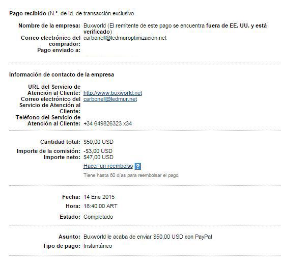 23ª Pago Buxworld $ 50 Paypal 9Dajm