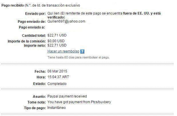 17ª Pago Buxbery $22.71 Paypal 9gVAn