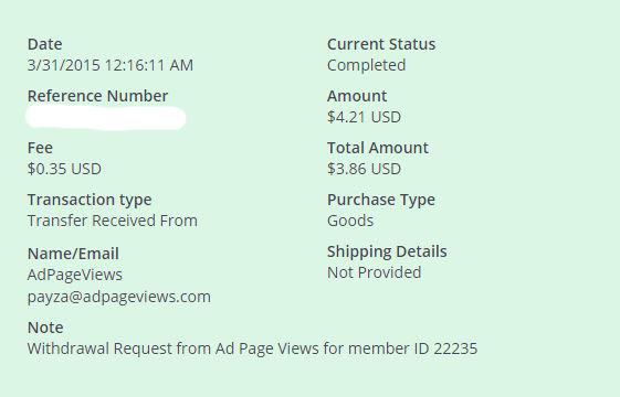 1ª Pago AdPageViews $ 4.21 Payza BzVeD