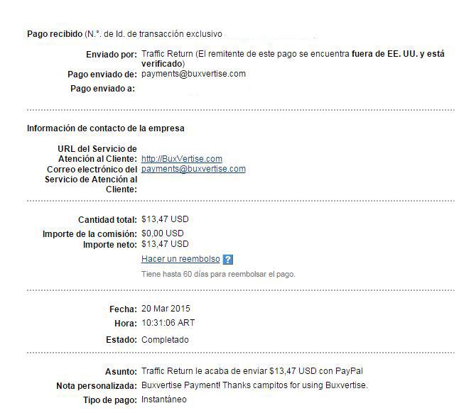 5ª Pago Buxvertise $ 13.47 Paypal C5P6M