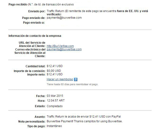1ª Pago Buxvertise $ 12.41 Paypal JhyCp