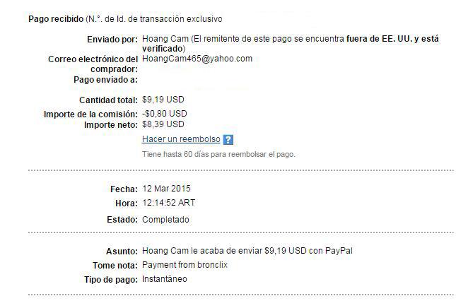 3ª Pago Bronclix $ 9.19 Paypal KasE4