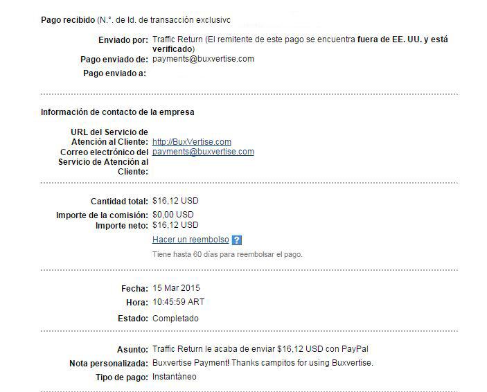 3ª Pago Buxvertise $ 16.12 Paypal LKNgR