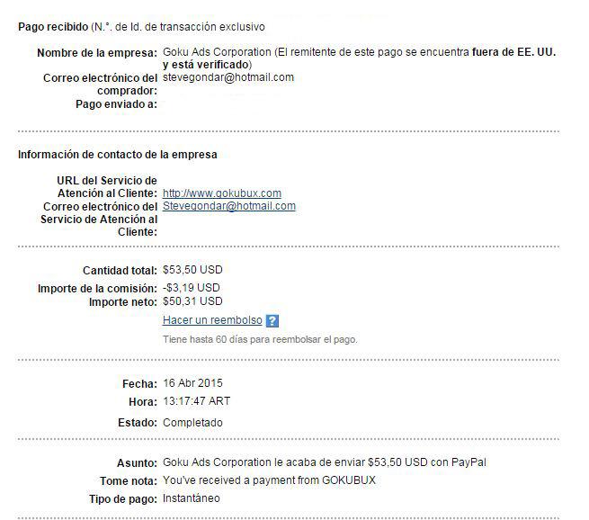 5ª Pago Gokubux $ 53.50 Paypal MP718
