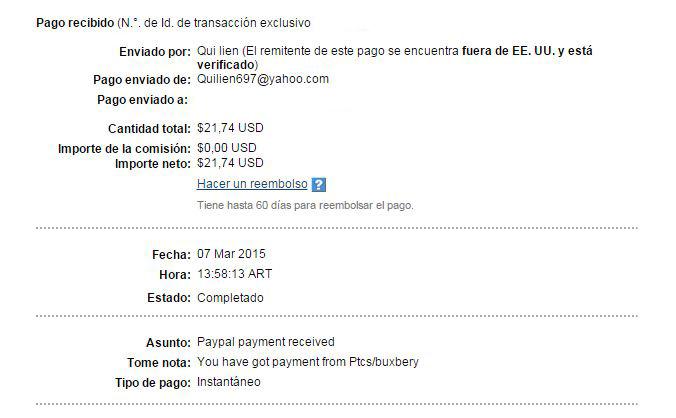 16ª Pago Buxbery $21.74 Paypal N9VCw