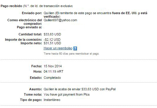 10° Pago Buxbery exPTCbery $33.63 Paypal NfF9E