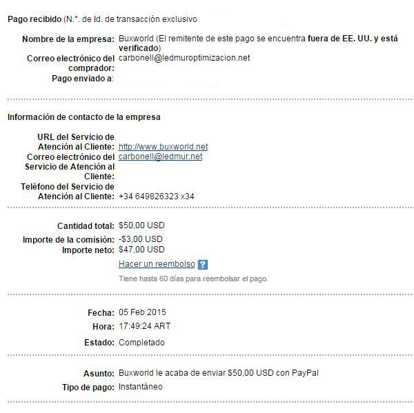 27ª Pago Buxworld $ 50 Paypal PWAMX