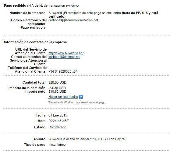 1° Pago Buxworld comision VIP $20 Paypal PwUGz
