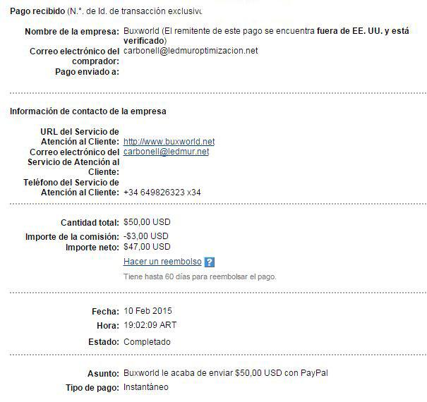 28ª Pago Buxworld $ 50 Paypal Q7tc